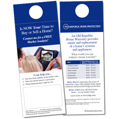 Complimentary door hangers for attracting home sellers and home buyers