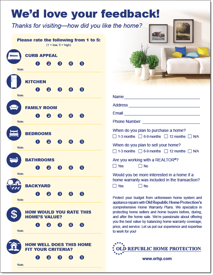 Sample Open House Feedback Form