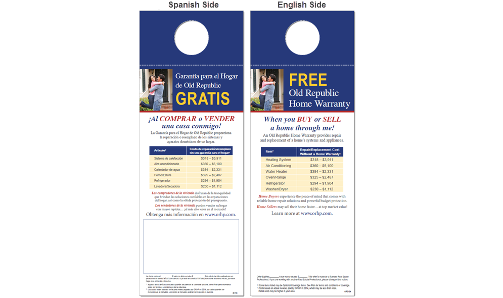 Image of ORHP's Spanish/English door hangers.