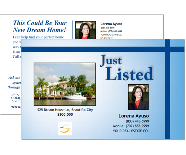 Just listed post cards to help market properties listed by real estate agents.