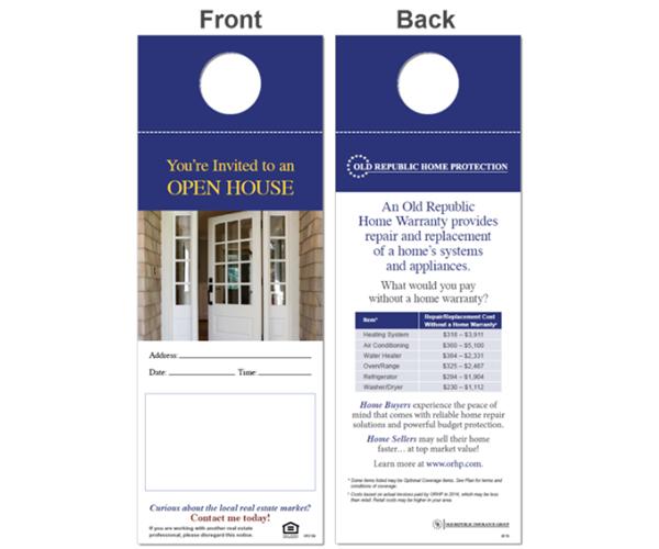 ORHP home warranty open house door hangers.