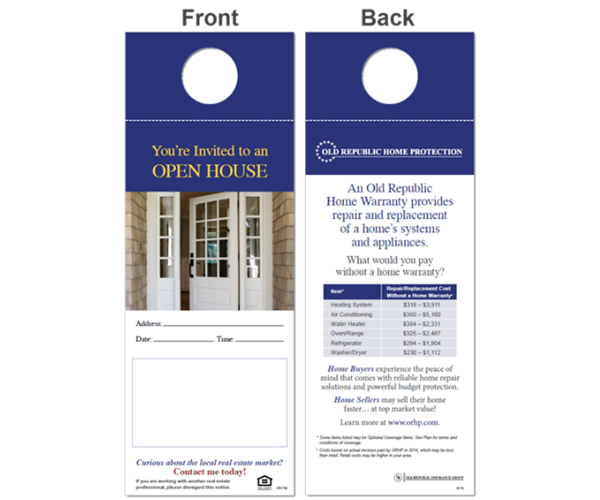 ORHP home warranty open house door hangers.