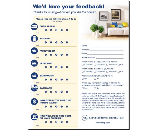 Open house feedback form.