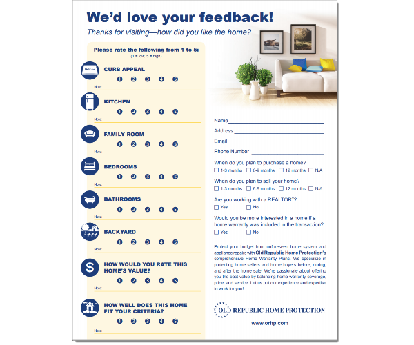 Open house feedback form.