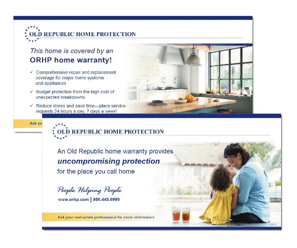 Start the home warranty conversation with real estate open house tent cards from Old Republic Home Protection.