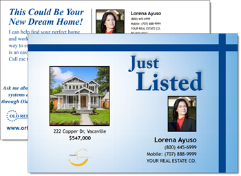 Customizable Just Listed postcards for real estate agents offered by Old Republic Home Protection.